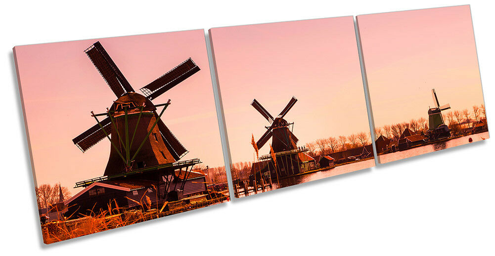 Mulini a vento Olanda Olanda Olanda SUNSET Foto a Muro ARTE TRIPLA STAMPA eba79a