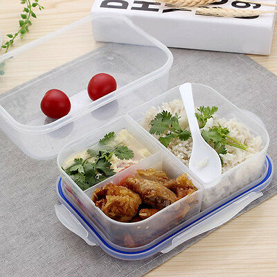 Kitchen 3 Section Plastic Food Storage Container Ideal Lunch Box Clear With Lid