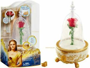 Disney Beauty and the Beast LIGHT UP ENCHANTED ROSE Jewelry Box