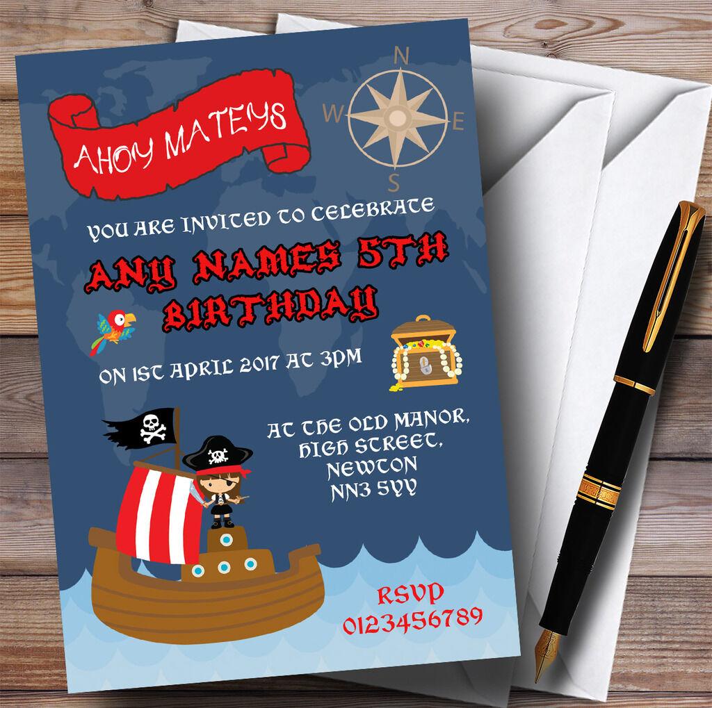 Blau Birthday Pirate Ship Girls Childrens Party Invitations 18a038