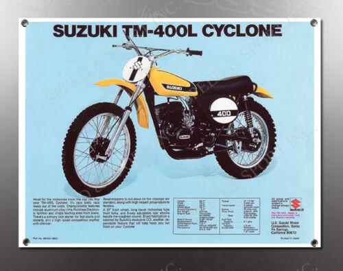 VINTAGE SUZUKI TM-400L CYCLONE IMAGE BANNER NOS IMAGE REPRODUCTION