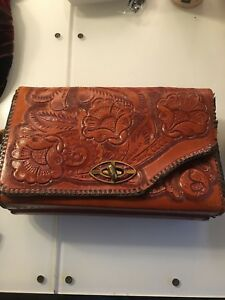 Vintage 50 s Mexican tooled leather floral roses purse western ... 091d113739228