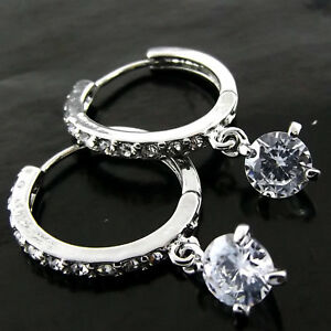 Diamond-Simulated-Earrings-925-Sterling-Silver-S-F-Drop-Dangly-Huggie-Hoop-Style