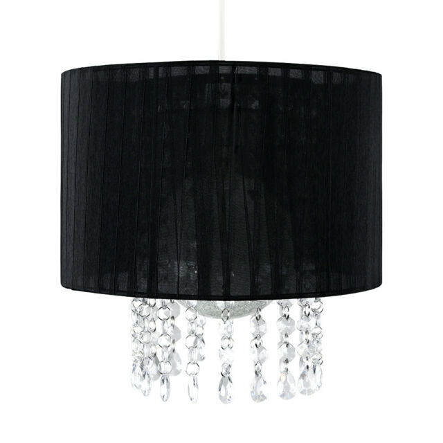 Stylish Black Drum Clear Jewel Ceiling Light Shade Chandelier Lamp Home Lighting