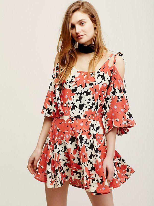 New Free People One Lucina Mini Dress Retro Floral Open Shoulder Woherren Tunic