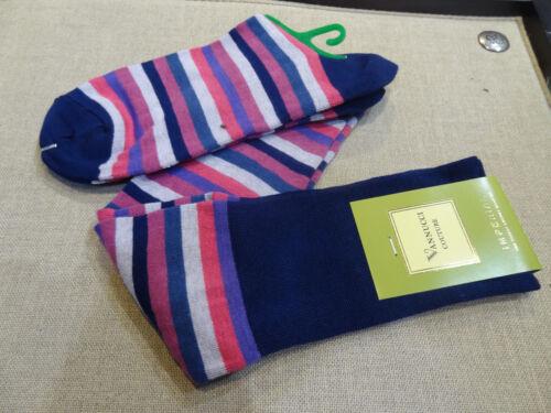 Vanucci Over the Calf Socks Pink Blue Gray ish White purple Stripe