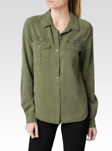 Paige  Embellished Mya Shirt -- Dusky Grün, Größe S