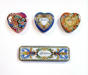 Lot-of-4-Brighton-Designer-Colorful-Heart-Tins-Jewelry-Trinket-Case-Gift-Boxes