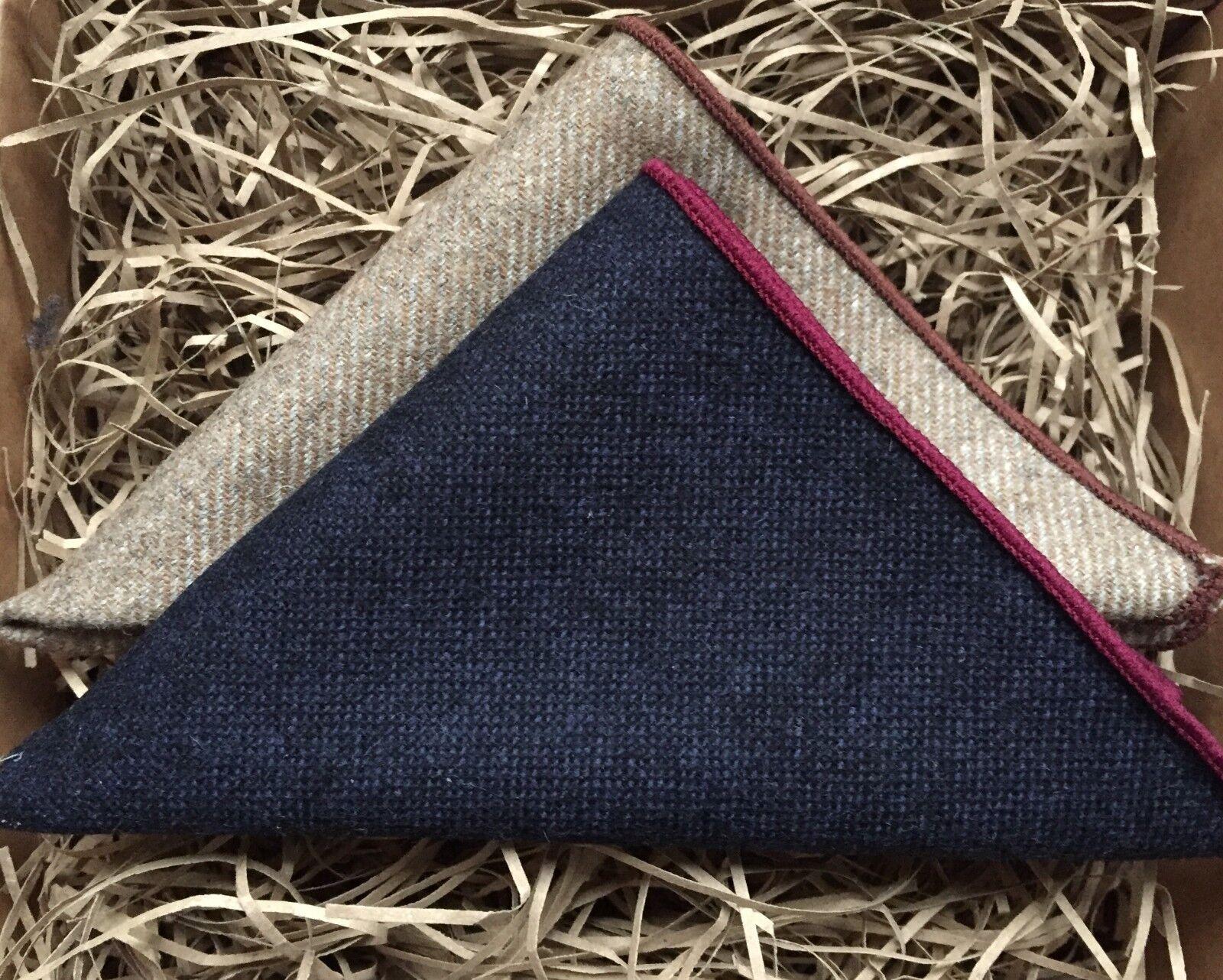 Beige Pocket Square, Navy Blue Pocket Square, Wool Pocket Square Gifts