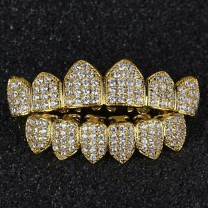 18K-Gold-Plated-CZ-Cluster-Custom-Slugs-Top-Bottom-GRILLZ-Mouth-Teeth-Grills-Set