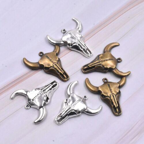 10PC Vintage Silver Bronze Bull Head Skull Charm Pendant For DIY Craft Making