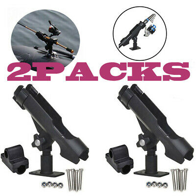 2Pcs Stainless Steel Rod Holders Rail Mounted Rod Pole for Boat Kayak Fishing