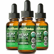 Peppermint Hemp Oil Extract for Pain Relief, Stress, Anxiety, Sleep - (3 PACK)