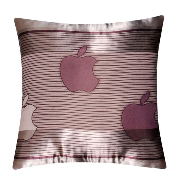Apple Print Abstract Self Embossed Stripes Silk Satin Cushion Cover for Sofa Bed