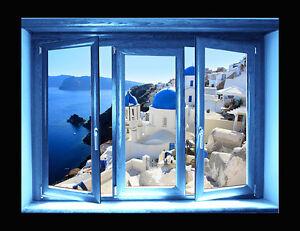 Wall stickers trompe l 39 oeil santorini finestra adesivo per muro grecia ebay - Trompe l oeil finestra ...