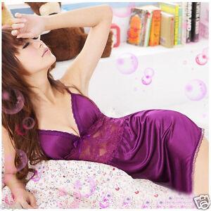 Sexy-Nightgown-Babydoll-Sleepwear-LACE-Night-Dress-Underwear-Purple-S-M-4-6-8-10