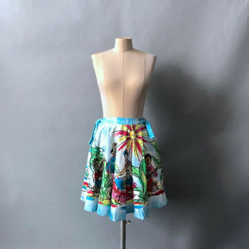 Vintage 1970s Mexican Twirl Circle Skirt Colorful