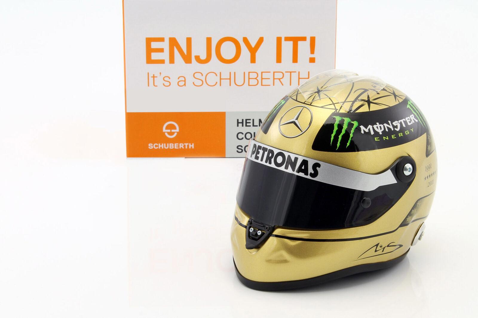 M. Schumacher Mercedes GP Formule 1 Spa 2011 or Casque 1 2 Schuberth