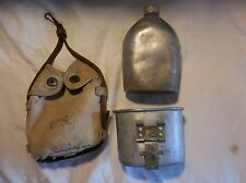WORLD WAR I US ARMY CAVALRY CANTEEN WITH KHAKI COVER AND LEATHER HANGER