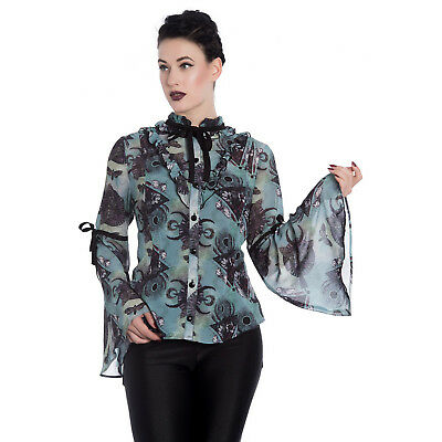 Hell Bunny After Death Blue Green Crescent Moon Alchemy Gothic Occult Blouse Top