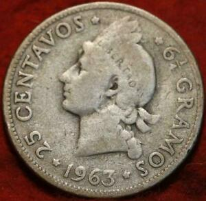1963-Dominican-Republic-25-Centavos-Silver-Foreign-Coin