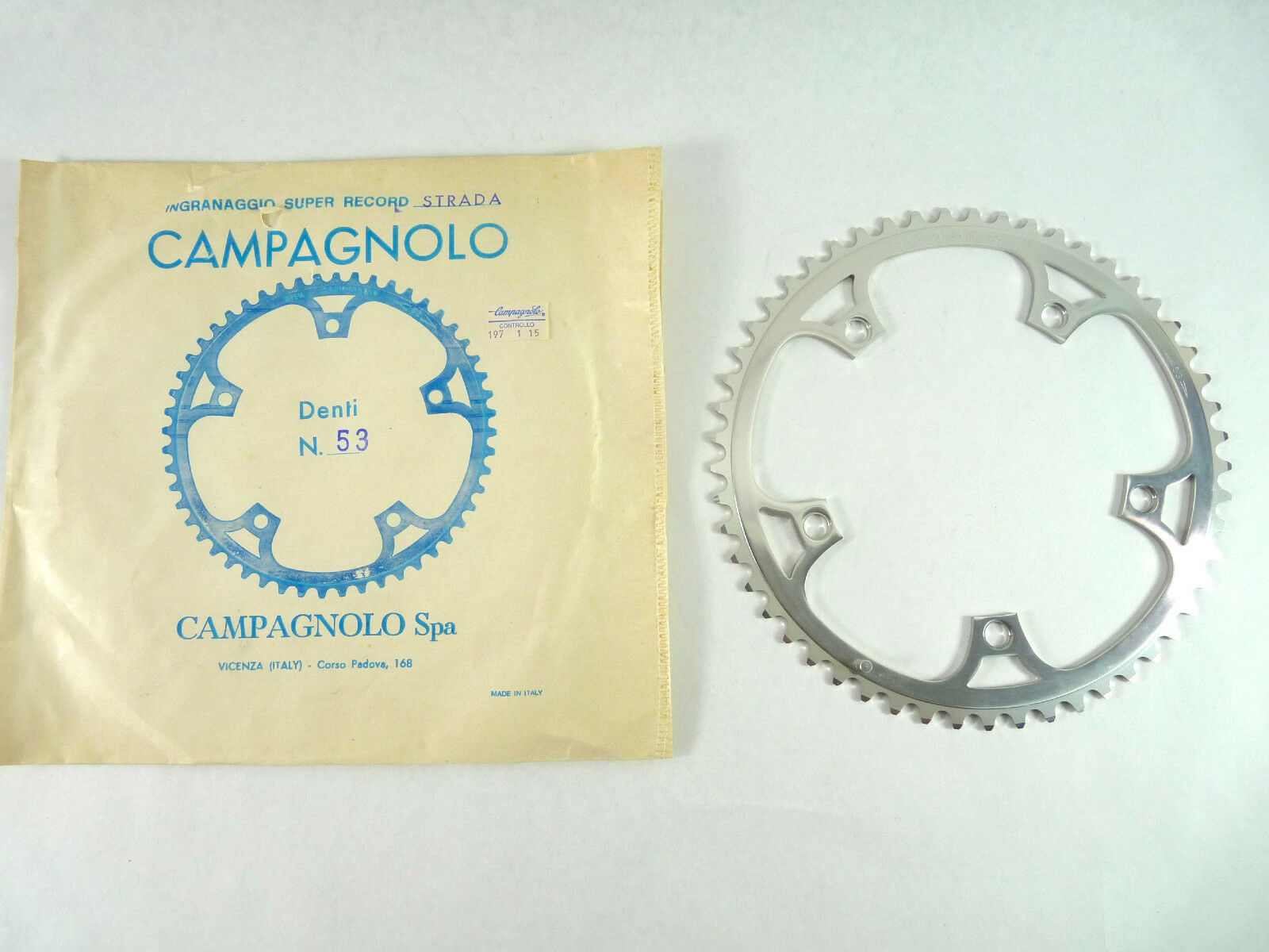 Campagnolo Super Record Chainring NIP 53T Road 144Bcd 3 32  Vintage Bicycle NOS