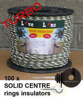 Green / White Power Charge Electric Fence Rope 400m & 100 Ring Insulators