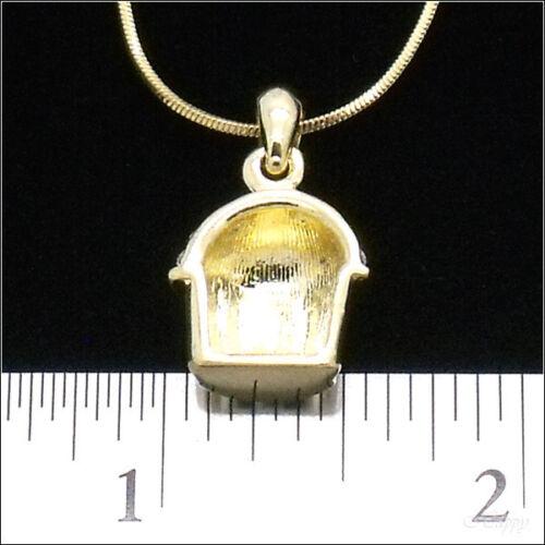 Mini Cupckae Baker Charm Cake Pendant Necklace Crystal Clear 3D Gold Tone Jewelr