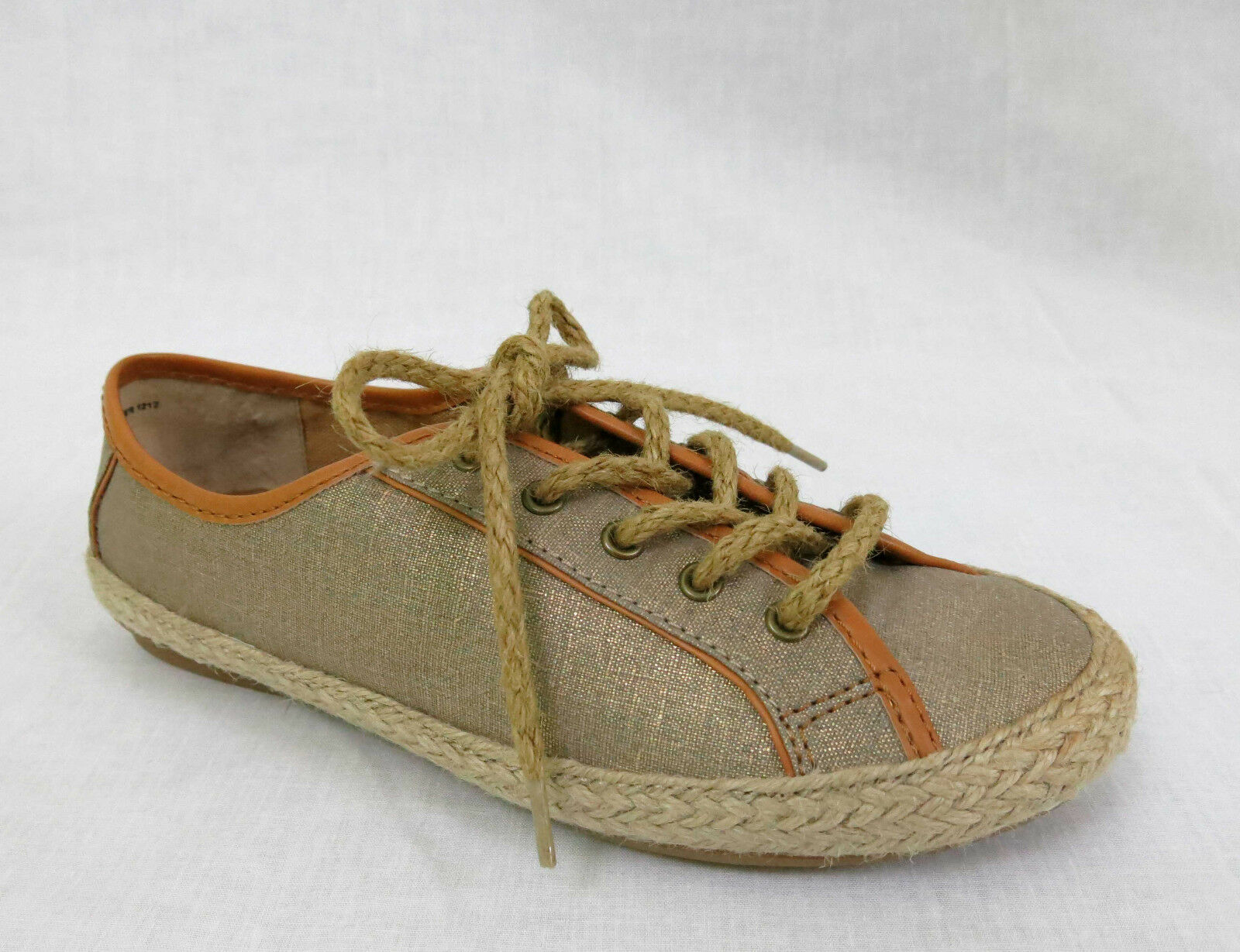 NINE WEST Samita Casual Sneakers Lace-Up Canvas Jute Gold Metallic 7 W