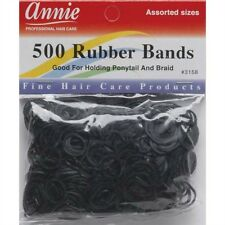 Annie 500 Rubber Bands Ponytail Holding Elastic Ring Black #3158 Assorted Sizes