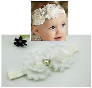 Newborn-Baby-Girl-Christening-Shabby-Flower-White-Headband-Wedding-0-18mos