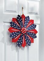 Patriotic Metal Door Wreath Americana Home Entryway Patio Wall Flower Decor