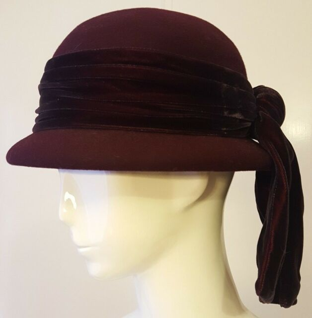 ERIC JAVITS, Burgundy, 100% Wool, Derby Hat with Velour Bow (Medium)