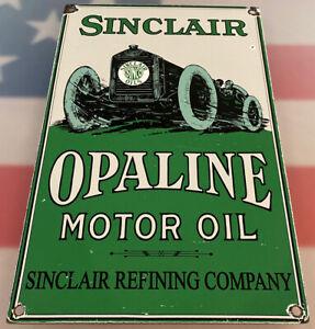 VINTAGE-SINCLAIR-OPALINE-MOTOR-OIL-PORCELAIN-SIGN-034-RARE-RECTANGLE-VERSION-034-GAS