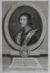 Gravure-Antique-print-Portrait-Jean-de-CARONDELET-chancelier-de-Flandre