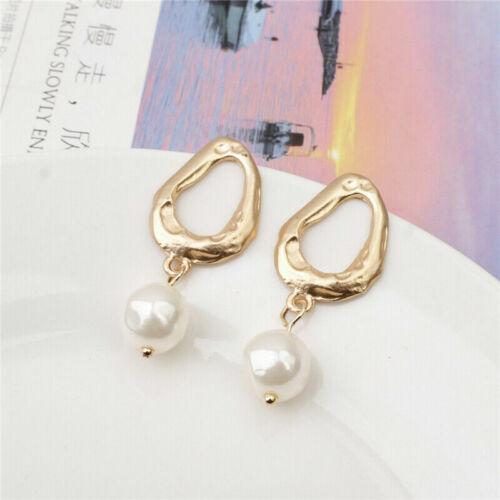 Fashion Women Gold Silver Round Metal Geometric Pearl Dangle Earrings Jewelry