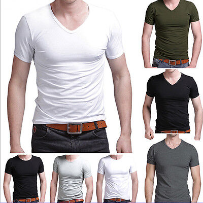 2017 Men's Slim Fit V-neck/Crew neck T-shirt Short Sleeve Muscle Tee Gym Tops