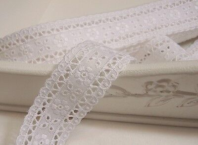 """3Yds Broderie Anglaise cotton eyelet lace trim 1.6"""" white YH1073 laceking2013"""
