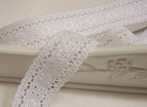 "3Yds Broderie Anglaise cotton eyelet lace trim 1.6"" white YH1073 laceking2013"
