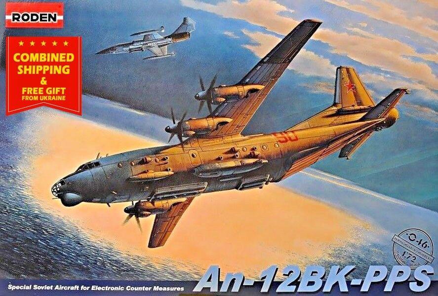 ANTONOV AN-12BK-PPS, SOVIET AIR FORCE, Soviet airplane USSR 1 72 scale RODEN 046