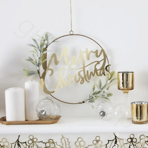 Gold-Acrylic-Merry-Christmas-Door-Wreath-With-Foliage-Xmas-Garland-Decorations