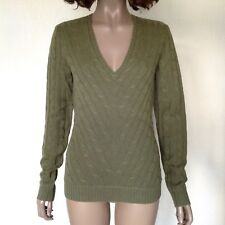RALPH LAUREN 100% Cashmere Slim Fit Sweater Olive Green Cable Knit Size XS / S
