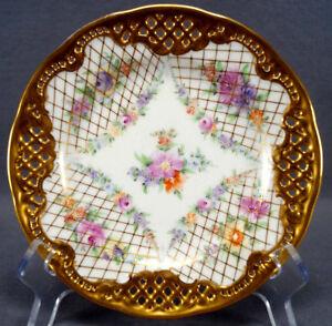 Carl Thieme Peint Main Floral guirlandes or Net & arrondies Dessert Plaque