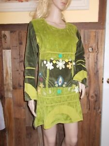 Kathmandu-GREEN-Velour-TOP-Tunic-S-M-MiniDress-BOHO-Woodland-floral-bell-sleeve