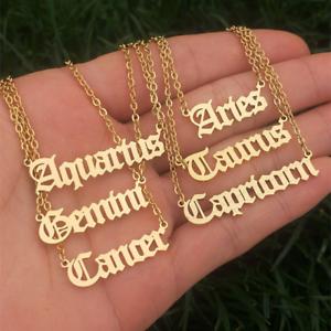 Zodiac écrit SIGNE Collier Pendentif or Horoscope Collier Cadeau Femmes