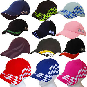 MOTORSPORT-BASEBALL-CAP-Motor-Racing-Chequered-Flags-ADULTS-amp-CHILDRENS
