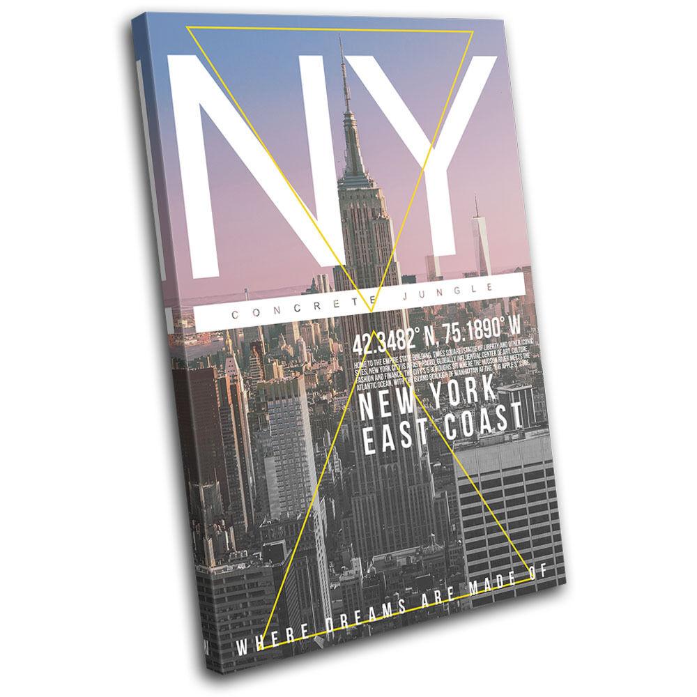 New York NY Typography City SINGLE LONA pared pared LONA arte Foto impresion 24c29b