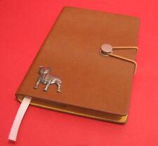 Staffordshire Bull Terrier Motif A6 Tan Journal Notebook Dog Christmas Gift