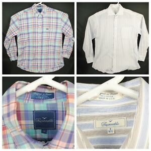 Lot-of-2-FACCONABLE-Men-039-s-Long-Sleeve-Button-Up-Shirt-Size-Large-L