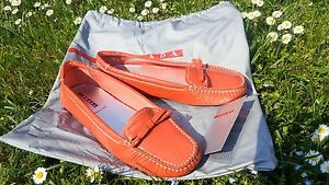 PRADA-Coral-Patent-Leather-Ballerina-Loafer-Moccasin-Shoe-Sz-36-5-UK-3-5-Fit-Big